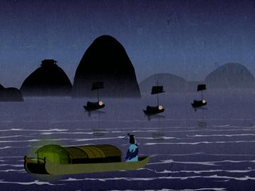 山塘街夜泊庭手绘图