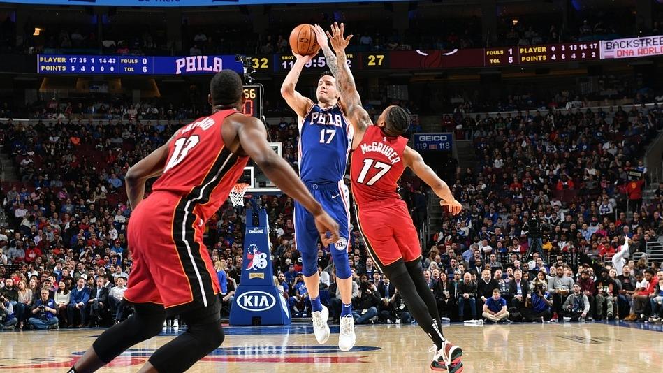 【原声回放】热火vs费城第4节 雷迪克漂移三分终结比赛_NBA全场回放