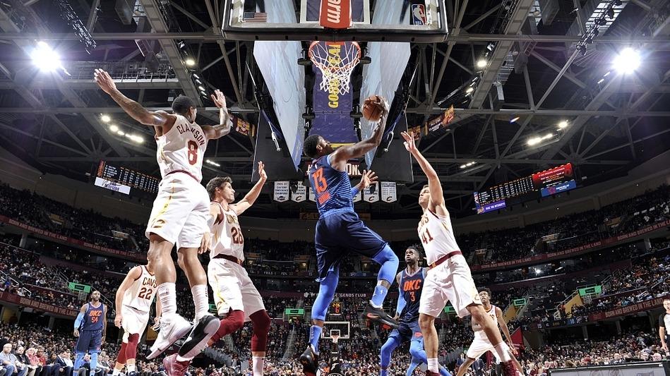 【回放】雷霆vs骑士第4节 JR背打施罗德滞空跳投_NBA全场回放