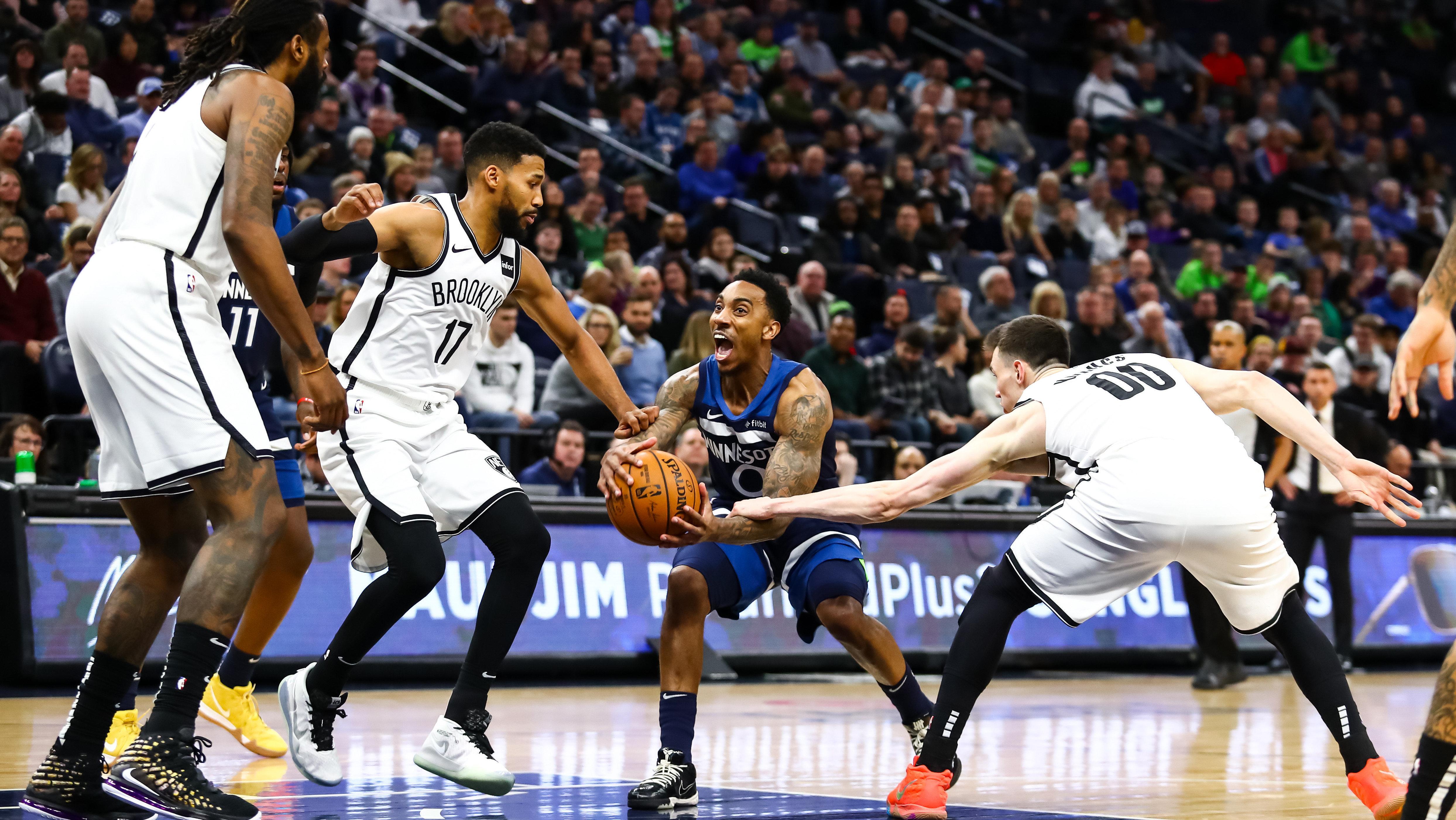 【原声回放】篮网vs森林狼第4节 吉昂底角关键三分点燃全场_NBA全场回放