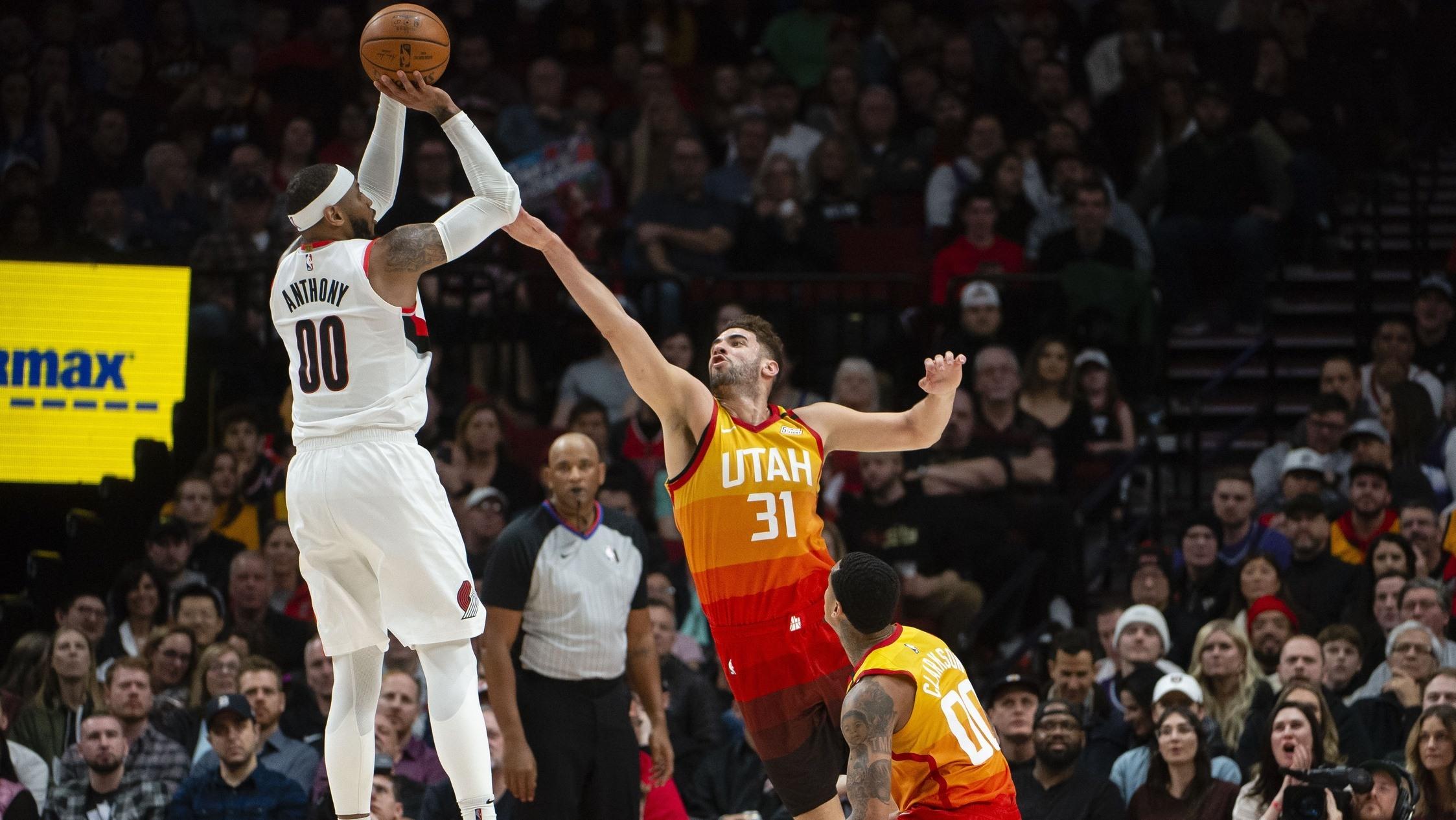 【原声回放】爵士vs开拓者第2节 利拉德单挑米切尔三分飙中_NBA全场回放